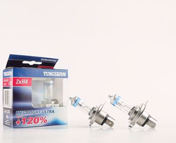 Picture of Tungsram 2 Lamp Megalight ultra+120% H4 12v 60/55 w