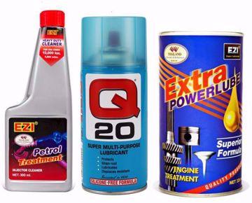 معالج محرك السيارات اكسترا باور لوب، 326 مل - ازرق مع منظف نظام دورة البنزين، 300 مل من ايزي وزيت تشحيم متعدد الاستخدام كيو 20، 150 جم - ايزي