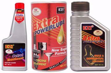 معالج محرك السيارات اكسترا باور لوب، 326 مل - احمر مع منظف دورة البنزين، 300 مل ومعالج نظام الحركة والكورونة 50 مل - ايزي